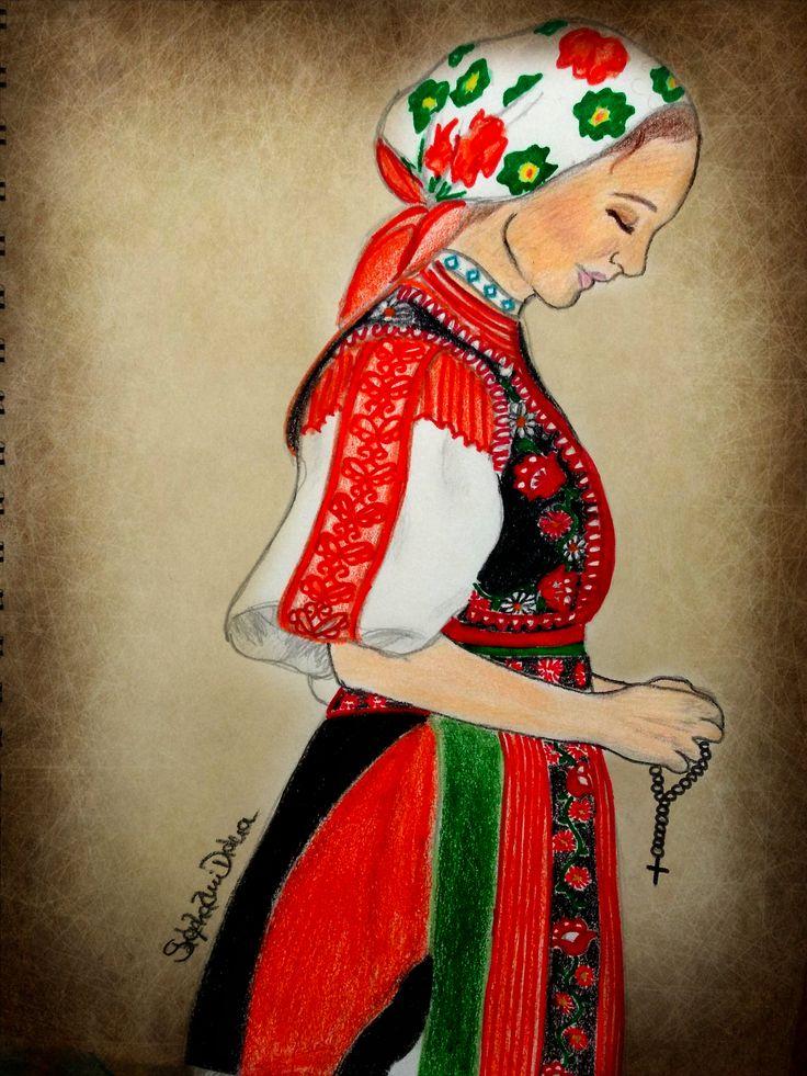 #kalotaszegi #drawing #woman #pray #hungarian #tradition