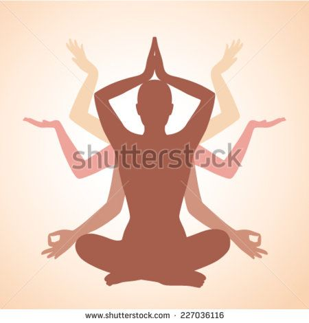 woman and her silhouette in yoga pose  - stock vector