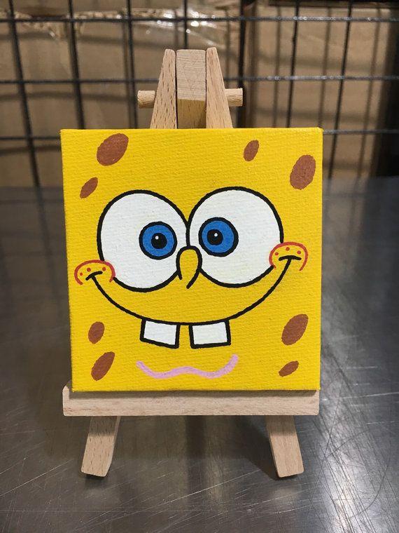 Spongebob Mini-Canvas Original painting by ToddTheFoxArt on Etsy