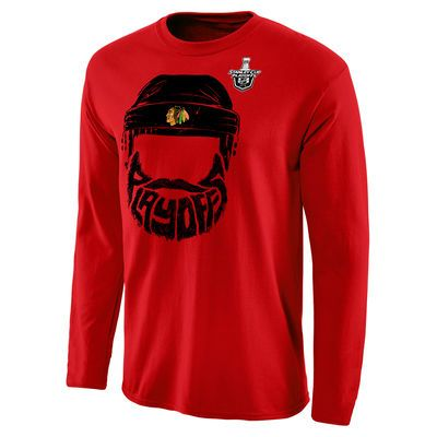 Men's Red Chicago Blackhawks 2016 Stanley Cup Playoffs Bound Bearded Long Sleeve T-Shirt