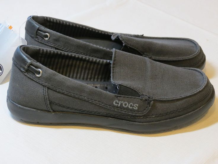 Womens crocs standard fit Walu canvas loafer slide shoe W 6 W6 boat black #Crocs #flatshoeloafer