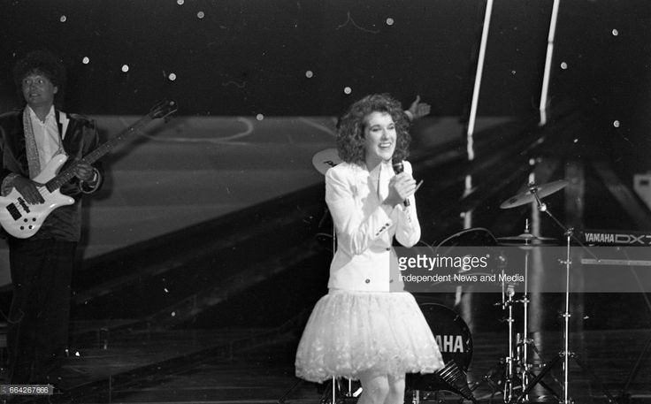 Eurovision Song Contest Winner Celine Dion of Switzerland on stage in the RDS, Dublin, (Part of the Independent Newspapers Ireland/NLI Colection).