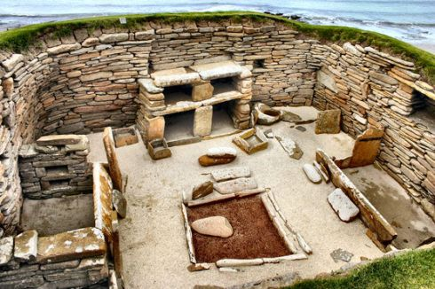 The oldest preserved furnished houses in the world. Skara Brae, The Orkney Islands, Scotland.