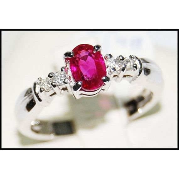 18K White Gold Oval Ruby Solitaire Ring and Diamond by BKGjewels