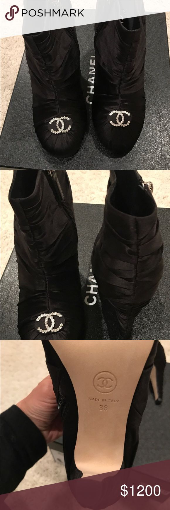 Beautiful Chanel Satin Booties  Brand New Chanel Short satin boots   Size 38   Comes with: Box and boots  Receipt available, purchased from Neiman Marcus  ❌Final Sale❌ CHANEL Shoes Ankle Boots & Booties