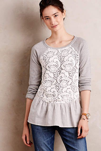 T-shirt, lace and added gathered lower edge -FRONT  | Meja Pullover - anthropologie.com