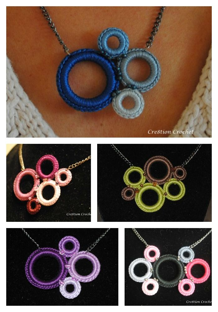 crochet ring necklace FREE tutorial #cre8tioncrochet
