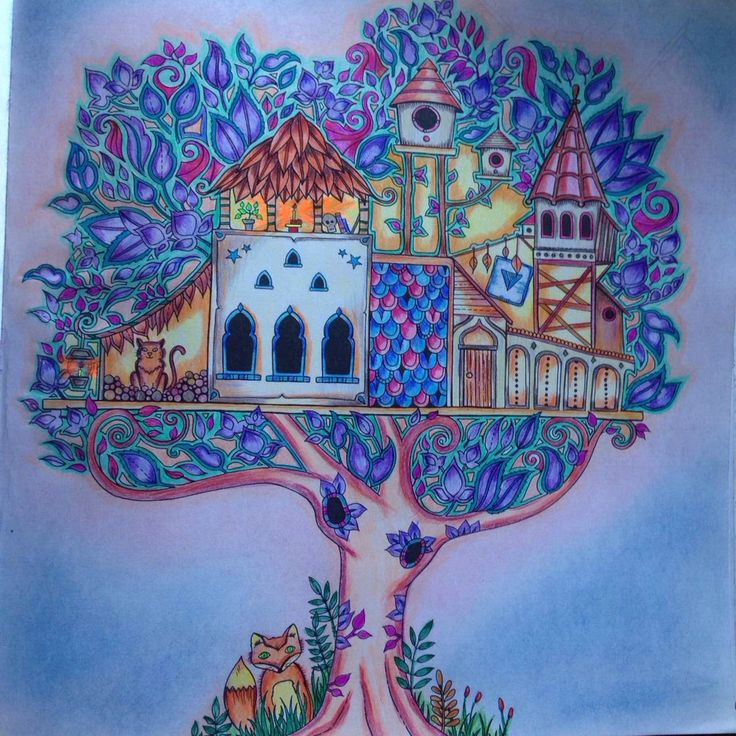Enchanted Forest Tree House Johanna Basford My Coloring Pages In 2019 Enchanted