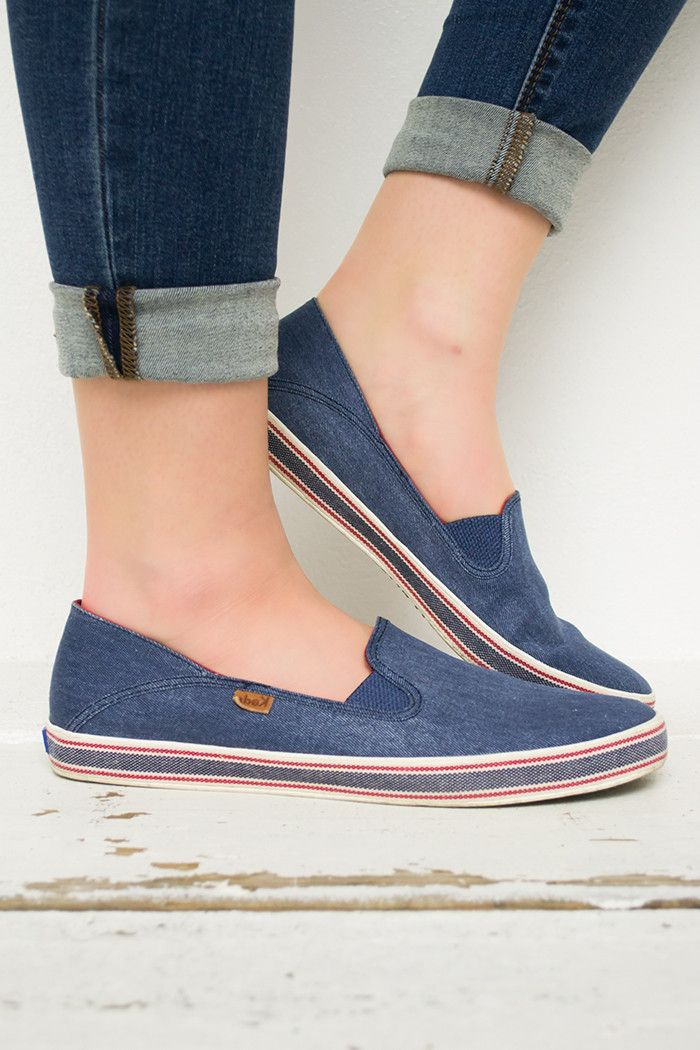8224d1773f5 These Keds are a must have in any closet! Cozy slip on style is comfortable  and the denim blue material goes with anything! They hav…