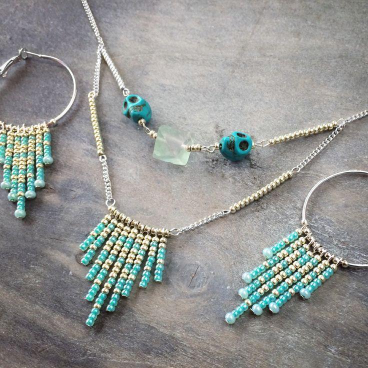 Edelsteen ketting turquoise doodshoofd edelstenen sieraden fluoriet ibiza oorbellen