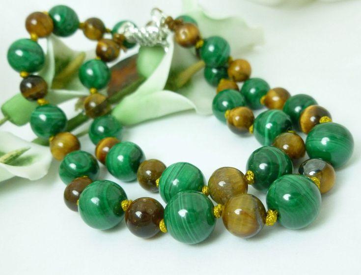 Green Malachite and Golden Tiger Eye Round #Gemstone Beaded #Necklace #bmecountdown
