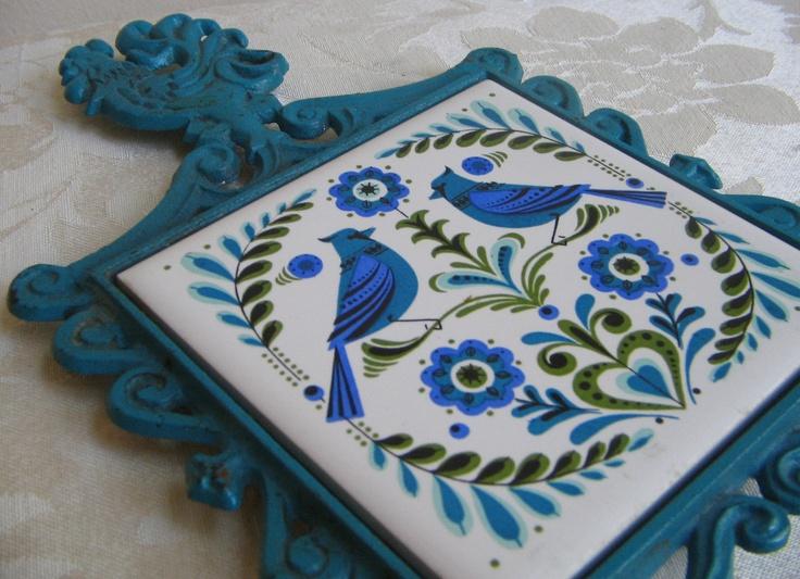Vintage Metal Trivet Birds Turquoise Periwinkle Blue, Cast Iron Ceramic Tile by Cherry Japan,  Danish Modern Scandinavian Folk Art. $15.00, via Etsy.