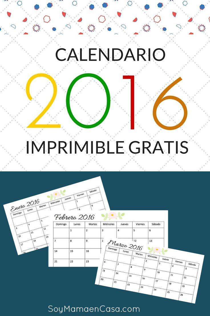 Calendario 2016 listo para imprimir gratis ! Comienza el año bien organizada con este bonito calendario.