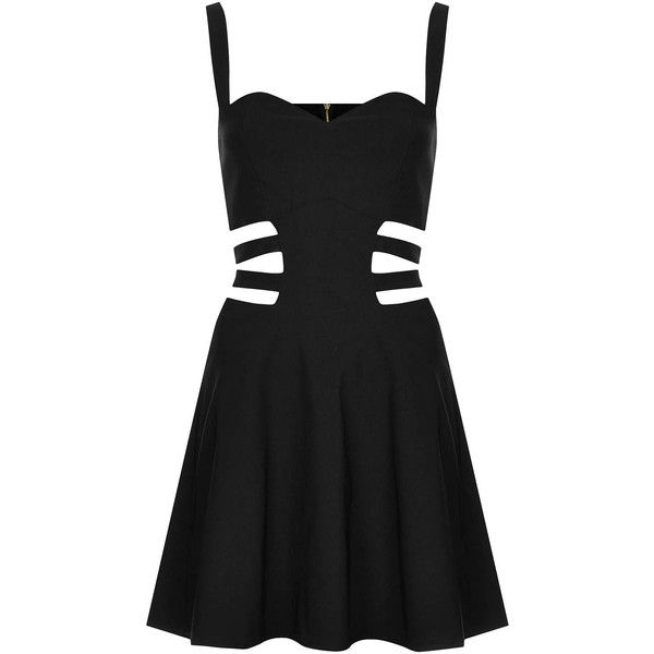 **Cage Side Cut-Out Skater Dress by Rare ($27) ❤ liked on Polyvore featuring dresses, vestidos, short dresses, black, sweetheart cocktail dress, sweetheart dress, short black dresses, mini dress and cut out skater dress