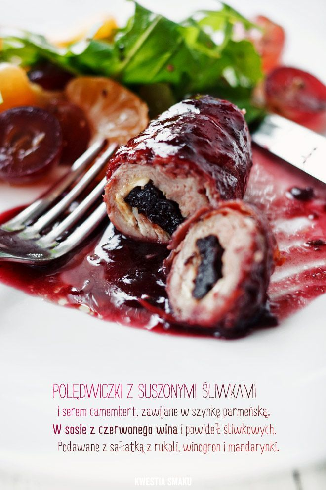 Pork tenderloin rolls in prosciutto stuffed with dried plums and camembert in red wine and plum sauce. Served with rocket, tangerine and red grapes salad.