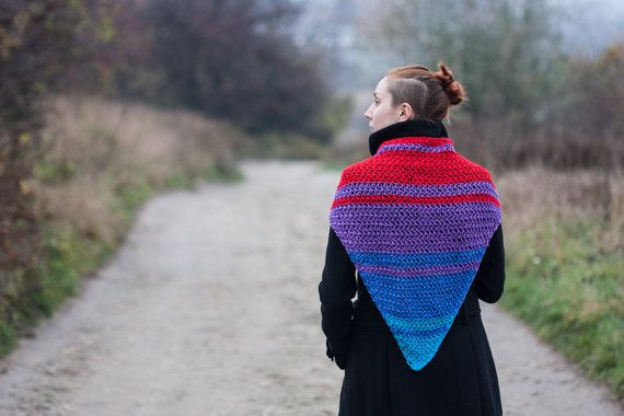 Multicolored Crochet Triangle Scarf by RUKAMIshop on Etsy