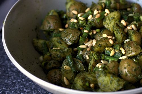 Pesto Potato Salad with Green Beans--requested by my daughter for her graduation celebration