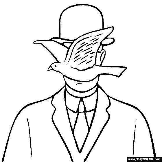 rene magritte coloring pages Rene Magritte Man in a