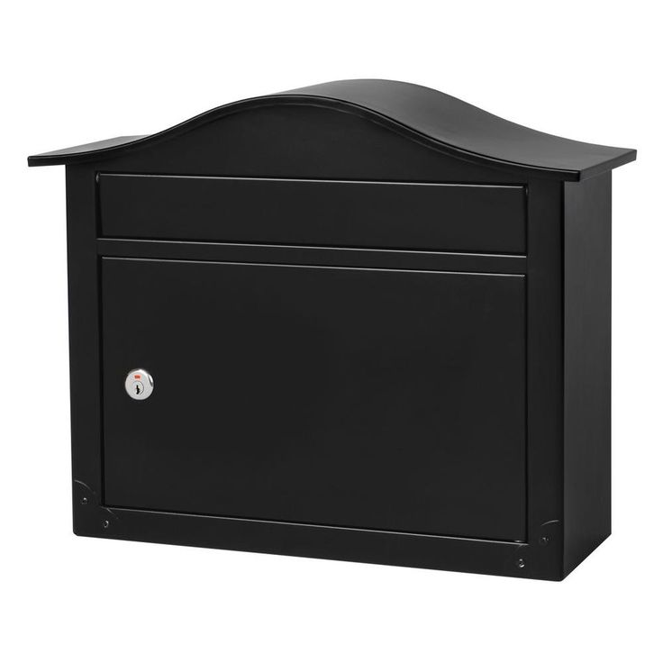 Architectural Mailboxes Saratoga Black Wall-Mount Lockable Mailbox - 2550B-10 - The Home Depot