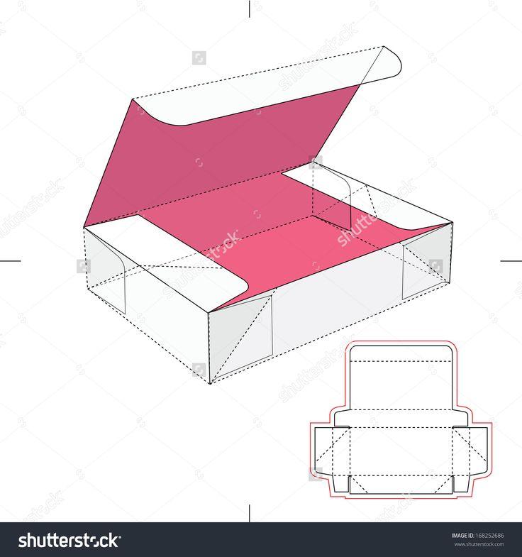 Box With Flip Lid And Blueprint Layout Banco de ilustração vetorial 168252686 : Shutterstock