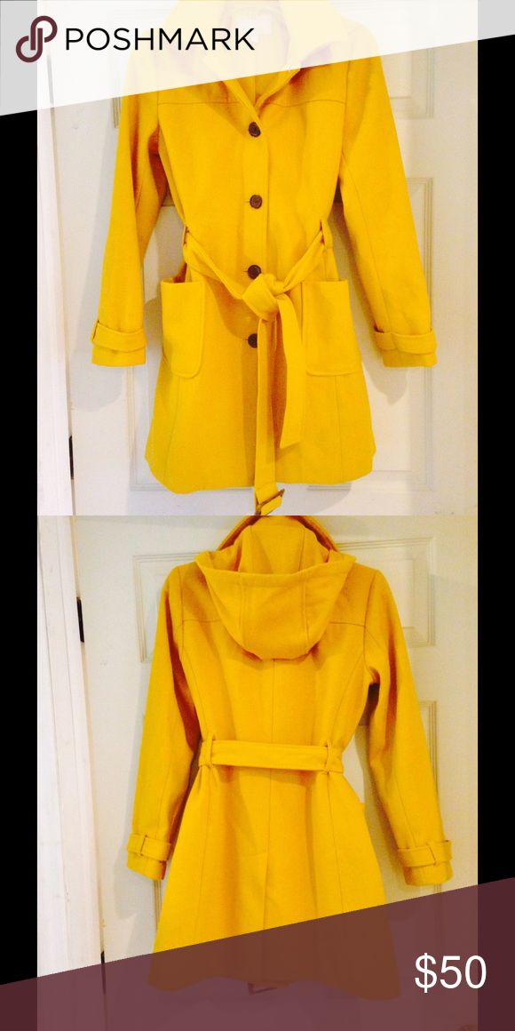 Banana Republic coat Banana Republic-mustard colored, wool coat with belt and hood! Only wore a few times! Great condition, 🎉 Banana Republic Jackets & Coats