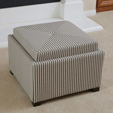 Andrea Stripe Fabric Tray Top Storage Ottoman   Dark Coffee   Modern    Ottomans And Cubes