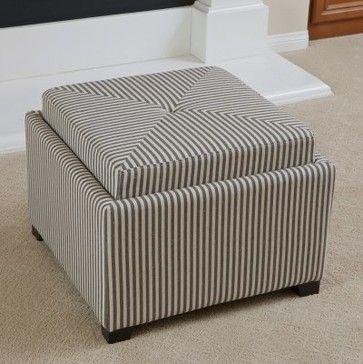 Andrea Stripe Fabric Tray Top Storage Ottoman - Dark Coffee - modern - ottomans and cubes - Hayneedle