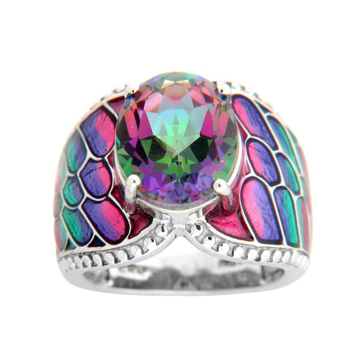 Sterling Silver Choice of Exotic Topaz and Enamel Ring