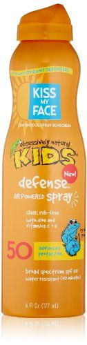 Just one little kiss of our Kid's Defense Air Powered Spray sunscreen will protect your little one from the sun without the use of chemical propellants. Our Naturally Nourishing Antioxidant Defenders in all our sun care products contain effective ingredients... FULL ARTICLE @ http://www.sheamoistureproducts.com/store/kiss-my-face-kids-defense-continuous-spray-natural-sunscreen-spf-50-sunblock-6-ounce-2/?a=7101