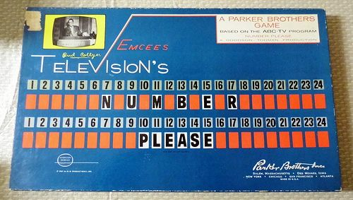 """Vintage """"Number Please"""" Board Game, A Parker Brothers Game Based on the ABC-TV Program Number Please, A Goodson-Todman Production, Hosted by Bud Collyer, Copyright 1961."""