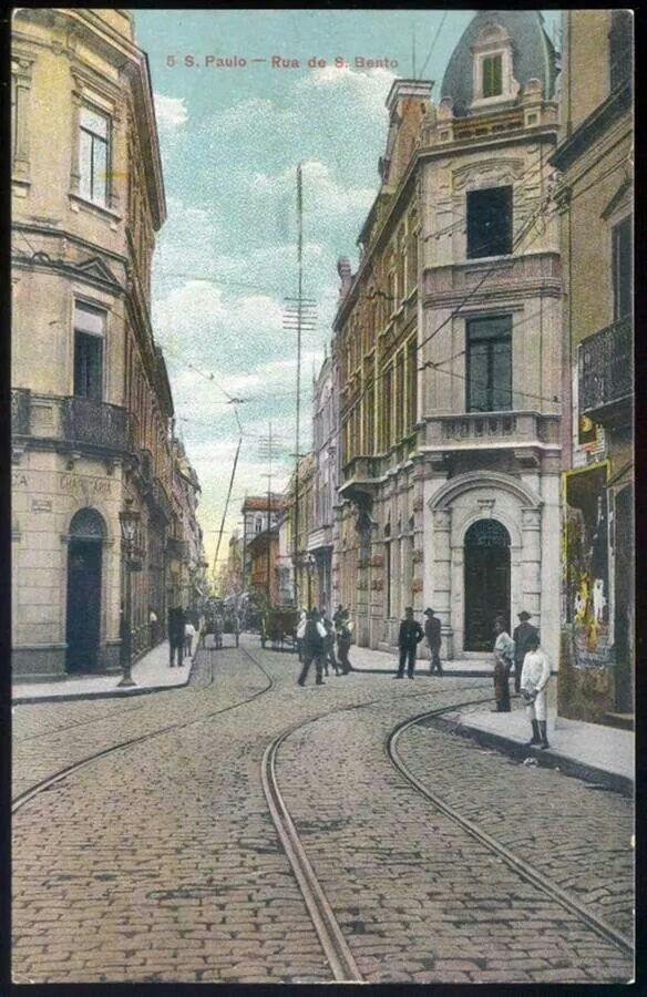 Primeira década do século 20 - Rua São Bento (cartão postal).