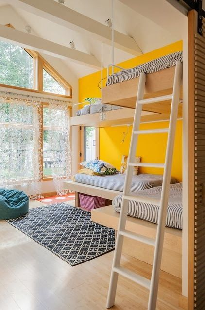 beautiful and bright, yellow wall and light wood.  #kids #decor