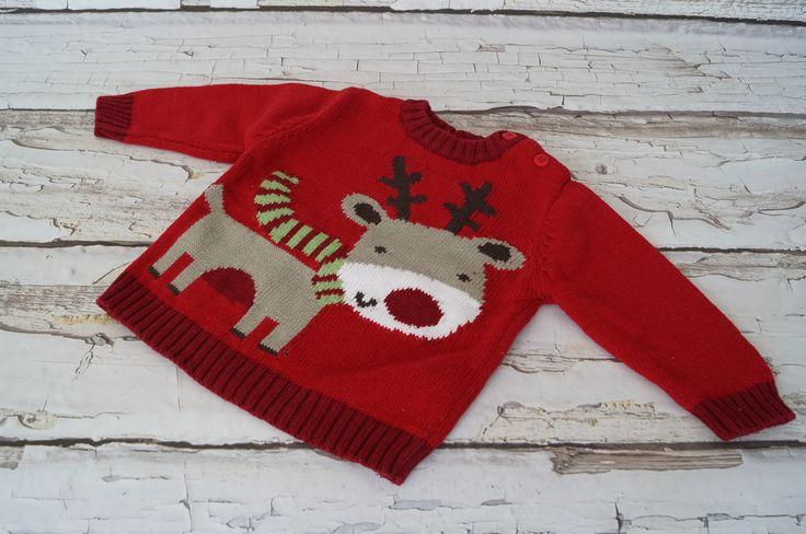 Śliczny czerwony #sweterek #renifer Będzie pasował na #dziecko w wieku 3-6 mc.  #Dzieciociuszek #poleca #modna #zima #ciocie #wiedzą #comodne