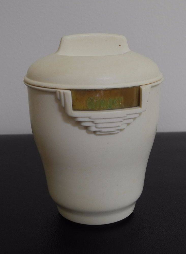 Vintage Bakelite Spice Canister Ginger Off White