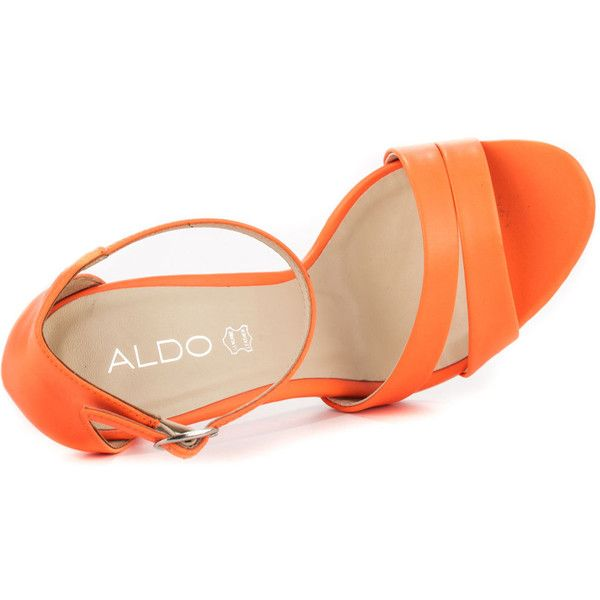 Aldo Women's Araori - Peach ($47) ❤ liked on Polyvore featuring shoes, sandals, peach shoes, high heel shoes, high heel sandals, ankle tie sandals and peach sandals