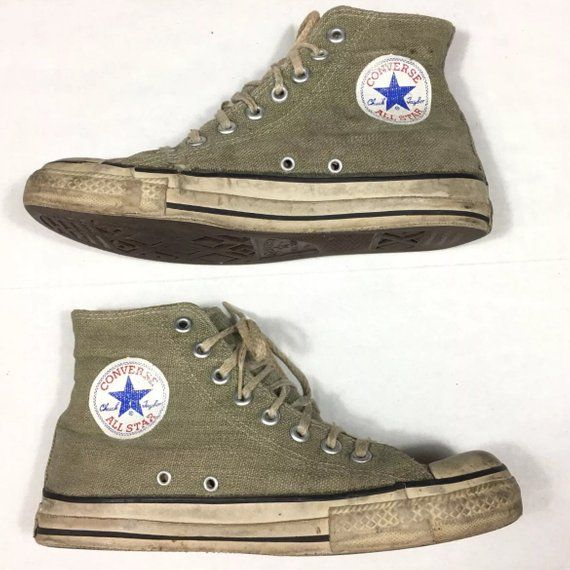 f3b761bc313a Vintage 90 s Converse All Star Chuck Taylor Hemp Athletic Hi Top Shoes  Men s 6.5 Green Rare Worn