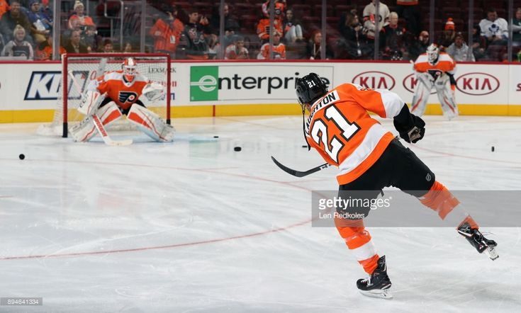Scott Laughton #21 of the Philadelphia Flyers warms up prior to his game against the Toronto Maple Leafs on December 12, 2017 at the Wells Fargo Center in Philadelphia, Pennsylvania.