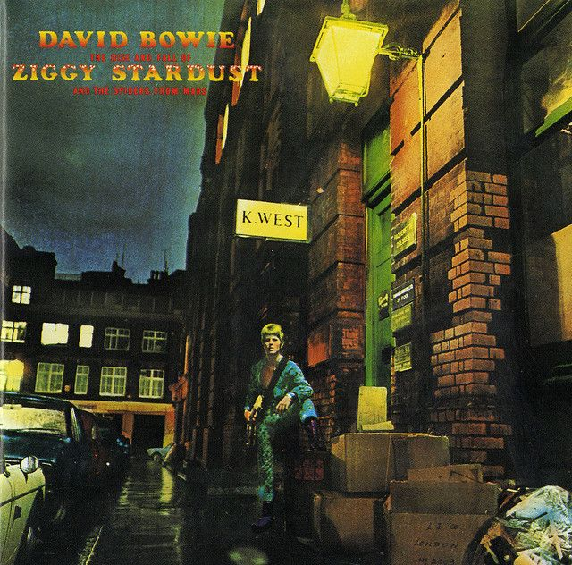Cover art for The Rise and Fall of Ziggy Stardust and the Spiders from Mars. His acoustic versions were my favorite music of, oh, 2002.