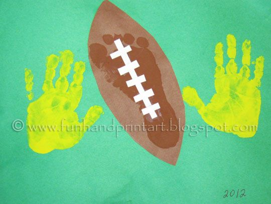 Feb 3, 2013- First Sunday in Feb. Handprint & Footprint Football Craft for kids ~ Have the kids make at a Superbowl Party
