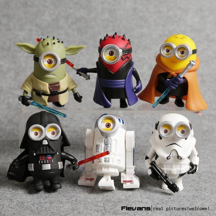 6pcs/set Minion Figure Model Minions Cos Star Wars Yoda Darth Maul Darth Vader R2-D2 Stormtrooper Obi-Wan PVC Anime figure Toys