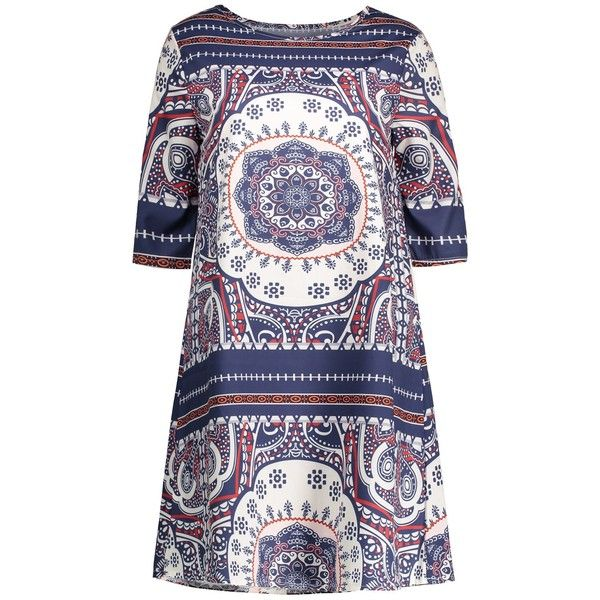 Short  A Line Printed Dress African Print Dresses ($13) ❤ liked on Polyvore featuring dresses, a line silhouette dress, short a line dresses, short african dresses, african print dresses and short dresses