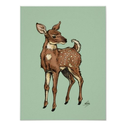 Fawn with Mint background Poster