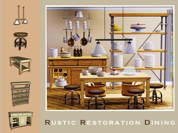 Rustic Restoration Dining By Cashcraft   Sims 3 Downloads CC Caboodle