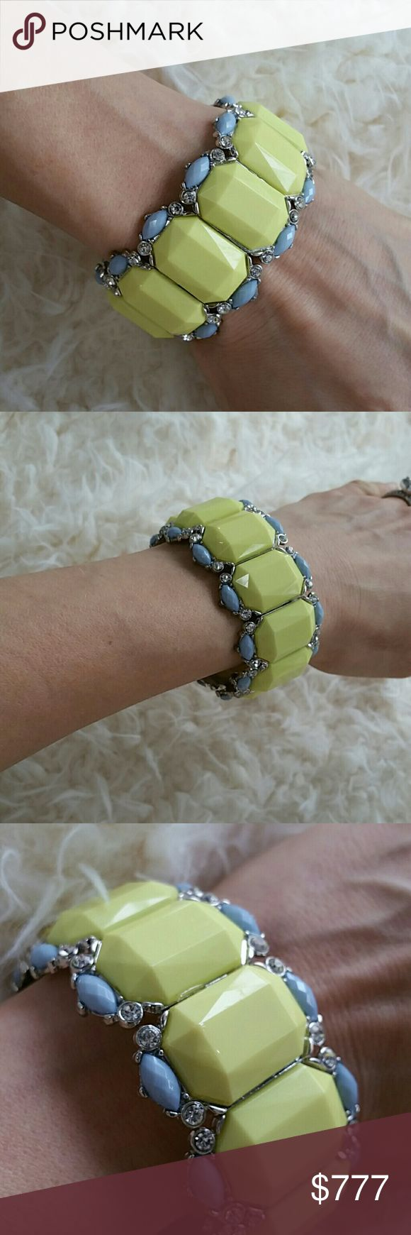 Glamorous yet colorful Bracelet Brand new!  Lovely bracelet, perfect to pair with any outfit to add a pop of color. Lime green, blues and rhinestone accents on a silver toned metal with Elastic banding inside.     Vacation, mothers day gift anniversary date night party cruise    Jewelry Bracelets