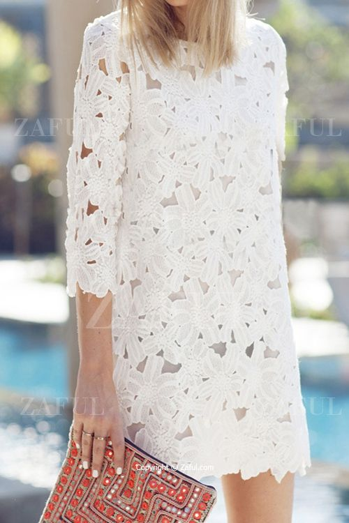 Floral Pattern Solid Color 3/4 Sleeve Dress WHITE: Dresses 2015 | ZAFUL