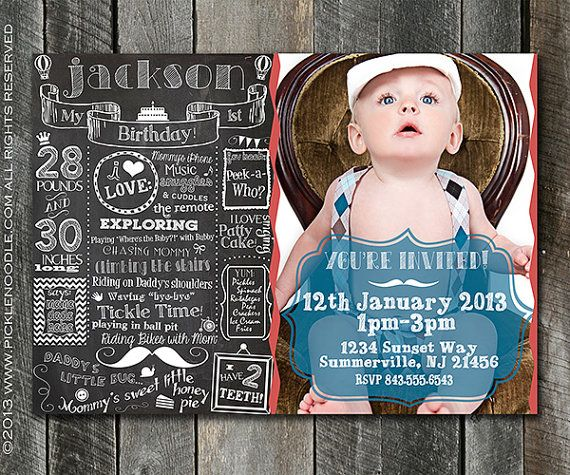 First Birthday Invitation One Year - First Birthday Chalkboard Invitation - Custom Babys 1st Birthday Invitation Plus FREE Web Version via Etsy