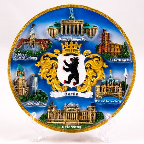 Souvenir Plate: Germany. Berlin Main Attractions and Berlin Coat of Arms (Diameter 19 cm)