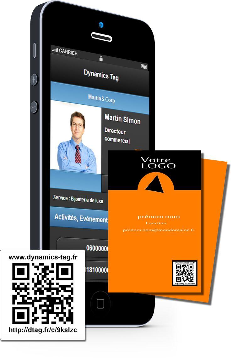 Cartes de visite papier associée à une carte de visite virtuelles via un qrcode : carte fond rouge orange et entête noire