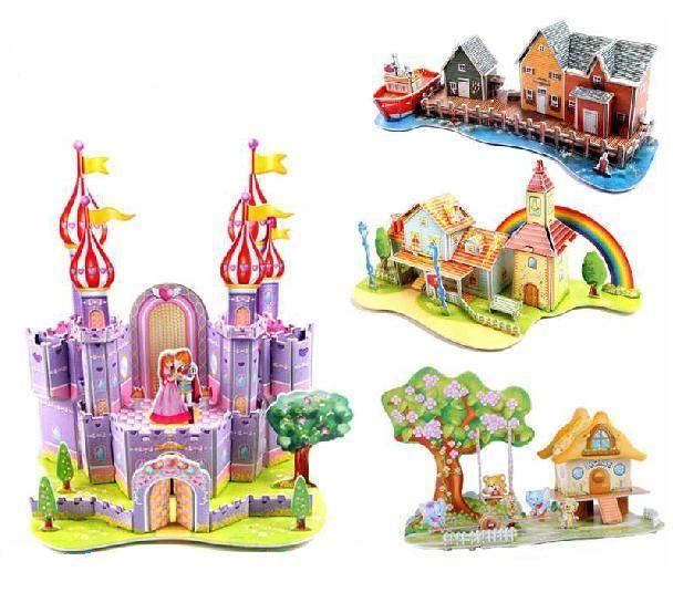 Замок дом Пазлы Дети Развивающие Игрушки 3D Головоломки Для Детей Взрослых Творческий Подароккупить в магазине HONG HUO'STOREнаAliExpress