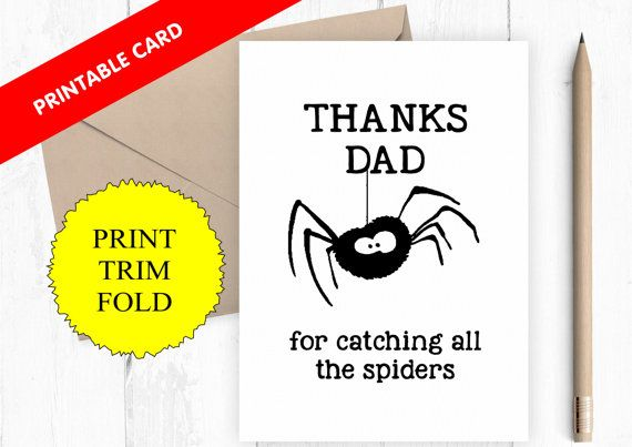 printable father's day card, catching spiders, funny dad card, funny father's day card, spider card, dad birthday card, digital card